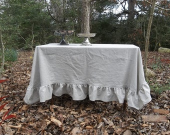 READY to SHIP Ruffled Linen Tablecloth Handmade Ruffled Tablecloth Gray Wedding Decor Table Settings French Country French Tablecloth 66x66