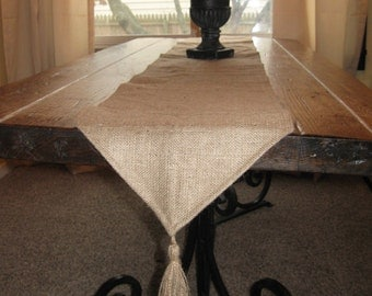 READY To Ship SALE - Burlap Table Runner with Fringe Tassel - Free Shipping