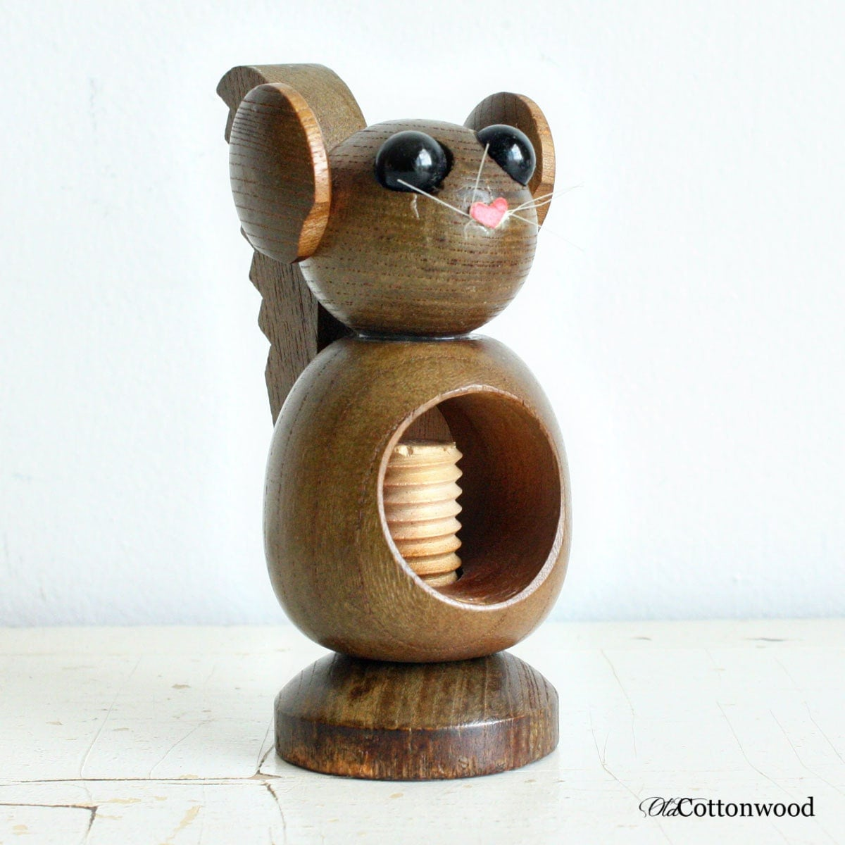 Vintage Wood Squirrel Nutcracker Screw Type By Oldcottonwood