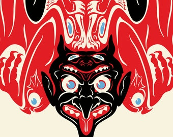 Devil Print, Krampus Art, Totem Pole Art, Demon, Demonic Art, Salish Style, Giclee Print Large