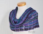 Knitted capelet, cowl, shoulderwarmer, dark grey, purple, blue, N282