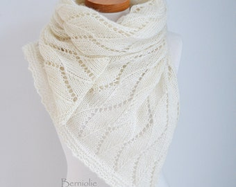 Lace knitted shawl, Ivory, M260