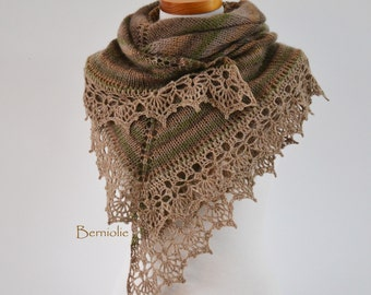 Knitted shawl with crochet lace trim, Green Beige, M271