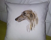 Dog pillow, pillow with embroidery, a pillow with a dog, embroidered dog, portrait of a dog on a pillow.