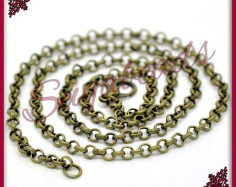 4 Antiqued Brass Finished Chain - Rolo Chain Necklaces 20 inch (CBR1)