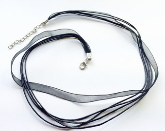 Black Ribbon and Cord with Lobster Clasp for Pendants