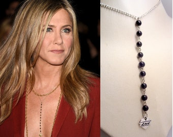 Heart Necklace, Necklace Of Jennifer Aniston,Celebrity Inspired Necklace, Onyx necklace