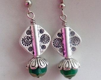 Tibetan Silver  Earrings,Antique Silver Earrings, Bridesmaid Earrings