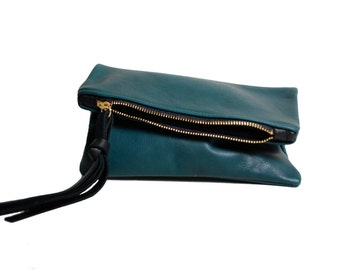 Leather mini fold clutch in deep forest evergreen