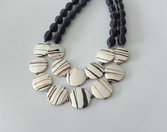 Black brown bronze cream statement necklace double strand