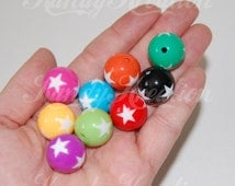 20 Star Gumball Beads 19mm for Kandi Bubblegum Necklaces Chunky Rave Beachball