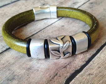 Silver Vine Thick Olive Green Leather Bracelet W Magnetic Clasp