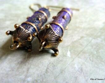 Malaya* Wood & Mixed Metal Earrings Purple Blue Gold OOAK Unusual Earrings Artisan Component Earrings Russian Artisan Bead Cap Earrings