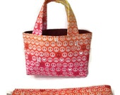Teeny Tote Bag with Matching Headband Peace and Love Gift Set
