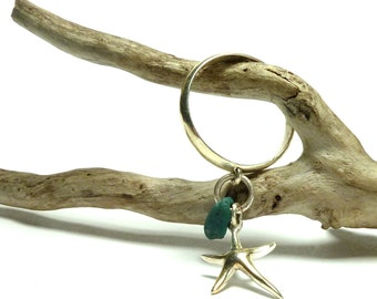 Sterling Silver Ring with Genuine Drilled Beach Stone Slag Glass Leland Bluestone Solid Sterling Star Fish Starfish Charm Ring EVENING STAR