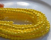 Bright Yellow Saturated 4mm Round Fire Polish Czech GLass Beads  50