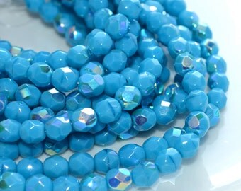 Sleeping Beauty Turquoise AB 6mm Fire Polish Round Czech Glass Beads  25