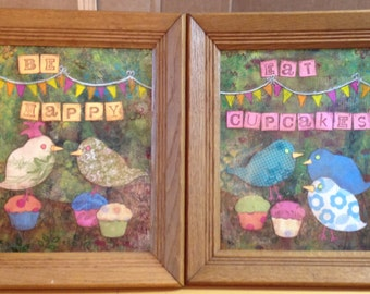 Be happy and eat cupcakes set of framed original collages