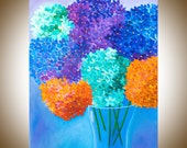 "Giclee prints gift for her original oil painting wall art Wall decor home decor ""Hydrangeas in Vase"" by QIQIGallery"