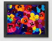 "Gift for Mom Oil painting pansy giclee print  wall art wall decor wall hangings ""Happy Face pansy"" by QIQIGallery"