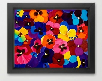 """pansy art giclee print original artwork wall art wall decor gift for mom gift for her """"Happy Face pansy"""" by QIQIGallery"""