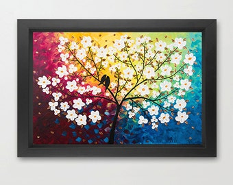 Art print giclee print white flowers love birds art purple yellow blue green original artwork by qiqigallery