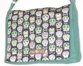MINT Dia De Los Muertos Mint SUGAR Skull Print MESSENGER Book Laptop Diaper Bag
