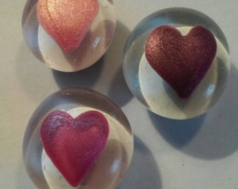 Shimmer hearts heart Valentines Day   Hand painted glass gem magnets party favors