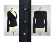 Vintage 90s Chanel Sweater Top with CC back buttons in cashmere silk v neck decollete
