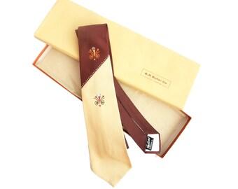 Vintage 1950s Necktie Unused NOS in Box Beige Brown Unworn Haband Two Tone Necktie