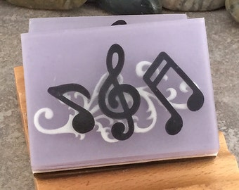 Handcrafted Music Notes Glycerin Soap in Black and Purple