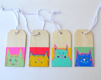 Set of 4 Hand Painted Fat Cat Tags