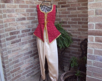 Fly the Magic Carpet in this fantasy costume, Jasmin like, Asian, Red vest with gold pants, OOAK girls 12