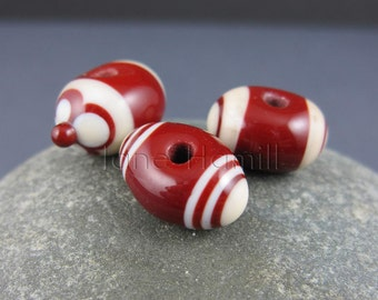 "Art glass lampwork beads, ""Chocolate Trio"" set of 3 beads, FHFTeam Y3, GBUK, SRA"