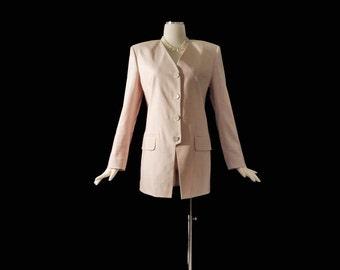 Vintage 80s Petal Pink Gucci Linen Jacket M/L