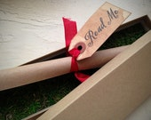 Alice in Wonderland WEDDING INVITATION -  Scroll Wedding Invitation - Moss-lined presentation box - addressed - ready to mail