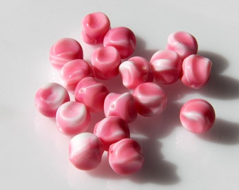 Large Vintage Czech Opaque Pink and White Pinched Round Glass Beads 11mm  (10)