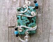 African Turquoise Wire Wrapped Pendant Necklace in Silver