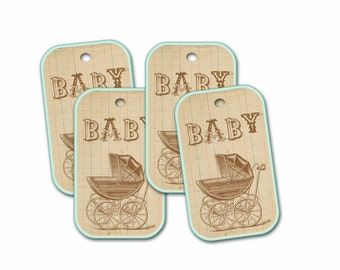 Baby Shower Tag, Baby Buggy Tag, Shower Party Favor, Baby Shower Gift
