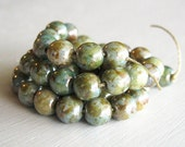 Blue/Green Luster Picasso Smooth 6mm Rounds - Czech Glass Beads