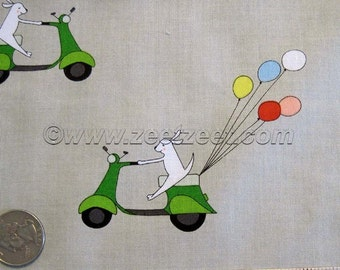 Just for Fun DOG ON SCOOTER Gray with Green Vespa - Cotton Quilt Fabric - by the 1/4 Yard Fat Quarter - Rare