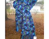 Handmade Crocheted Windowpane Scarf - Purple. Aqua, Olive Green, Royal Blue & Black - 100% Acrylic