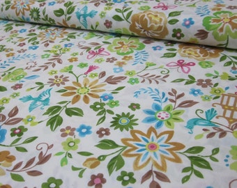 Chinoise White Aqua Mustard Fabric Fat Quarter