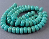 One Strand - Turquoise Rondell Abacus Synthetic Beads, Stabalized Color, Jewelry Beads, 8x5mm, STR906
