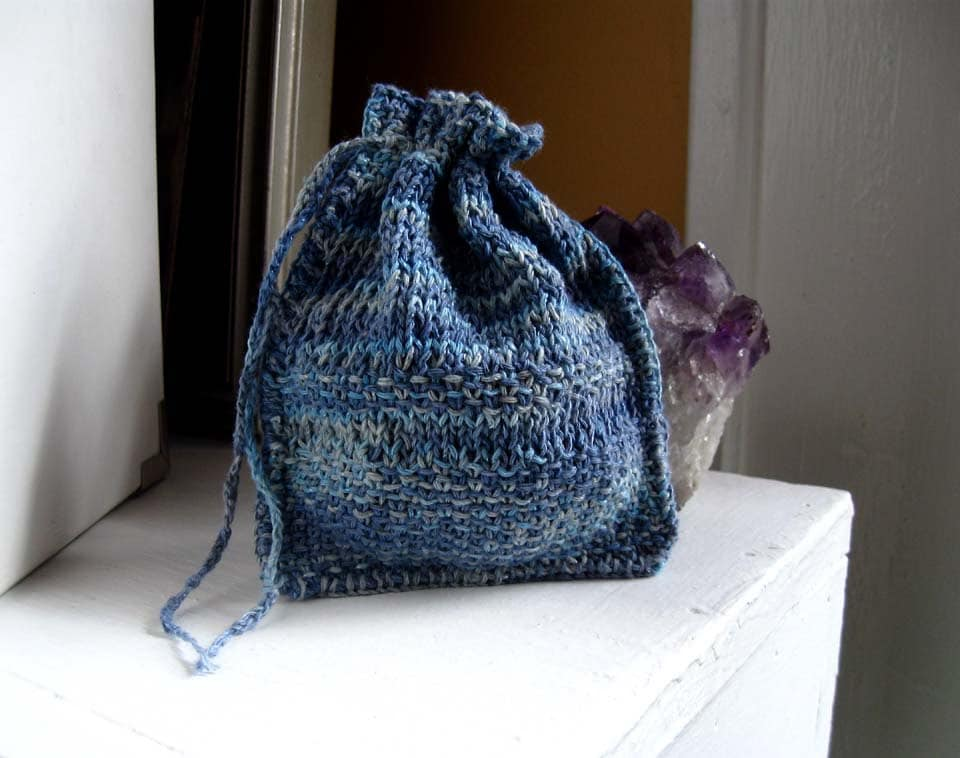 Knitting Pattern Small Drawstring Bag : Knit rune bag. Blue Moon. drawstring pouch by Moonthrall on Etsy