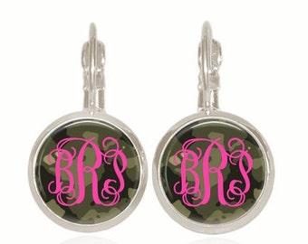 Monogram Earrings, Preppy Earrings, Personalized Earrings, Glass Earrings, Camouflage Earrings, (Hot PINK On CAMO - Drop Style Earrings)