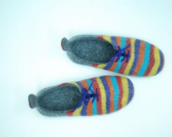 Felted  slippers, men slippers, men gift, rainbow slippers, wool clogs gray slippers  MADE TO ORDER, any color and size