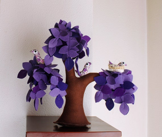 Lilac Weeping willow with a family of birds - Felt Tree. Home Decor, Children Decor, Gift for kids.