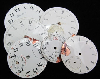 Distressed Shabby Chic  Watch Dials Steampunk Faces Enamel Porcelain GB 31