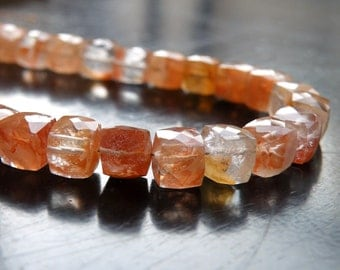 Sunstone Gemstone Faceted Cube Champagne Peach 7mm 14 beads 1/2 strand